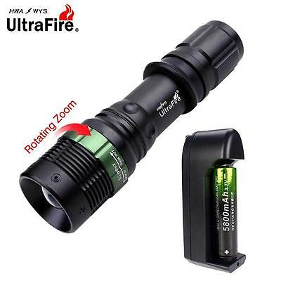 Waterproof 6000 Lumens Zoomable CREE T6 LED Torch+Li-ion Battery+3.7v Charger FT