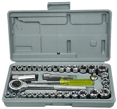"""40 Piece Drive Socket Set 1/4"""" and 3/8"""" Tool Kit Torx Ratchet with Carry Case"""
