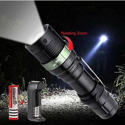 6000 LM Zoom CREE XML T6 LED Flashlight 18650 Battery Lamp+Li-ion AC Charger FT