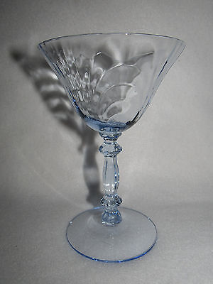 """Cambridge """"caprice"""" Moonlight Blue Crystal Tall Sherbet / Champagne Goblet (S)"""