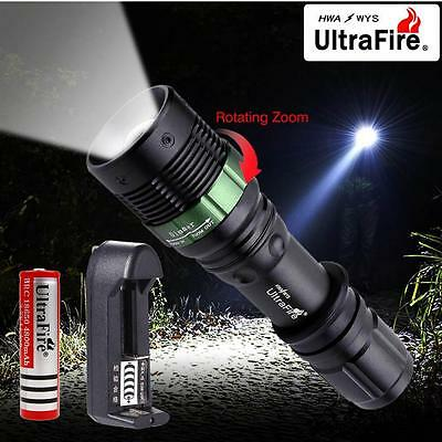 6000 LM Zoomable CREE XML T6 LED Flashlight 18650 Battery Light+3.7v Charger FT