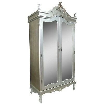 Silver Shabby Chic Mirrored double Door Wardrobe Boudoir Chateau Armoire FWF07