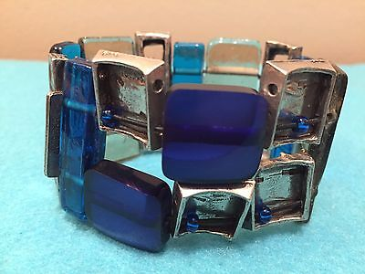 Anne Marie Chagnon Signed Modernist Blue Glass And Pewter Stretch Bracelet