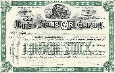 United States Car Company, share certificate dated 1894. green.