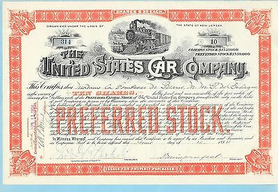 United States Car Company, share certificate dated 1894.