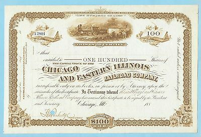 Chicago and Eastern Illinois Railroad Company, unissued share certificate, 188-.