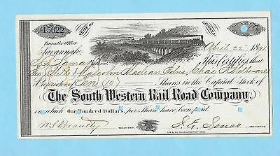 South Western Rail Road Company, share certificate dated 1891