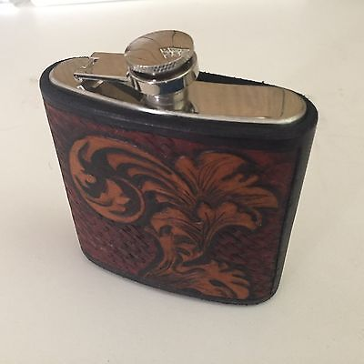 Branded H Leather Flask with Leather Case