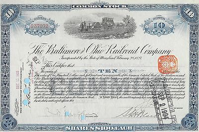 Baltimore and Ohio Railroad Company, share certificate dated 1903.