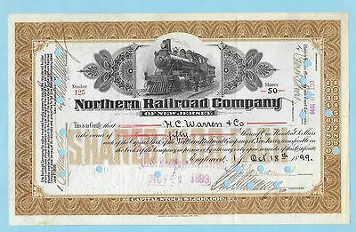 Northern Railroad Company of New Jersey, share certificate dated 1899.