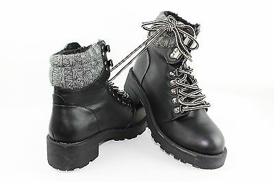 Size 4 UK Womens Ankle Boots Lace Up Thick Heel Black Leather Grey Fur Lined