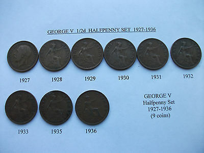 """GB COINS GEORGE V HALFPENNIES (1/2d) 1927 to 33,35,36 (9 Coins) (1"""" / 25mm Dia.)"""