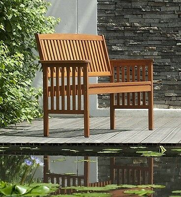 2 Seater Wooden Garden Bench Chair Outdoor Furniture Seat Free P&P New