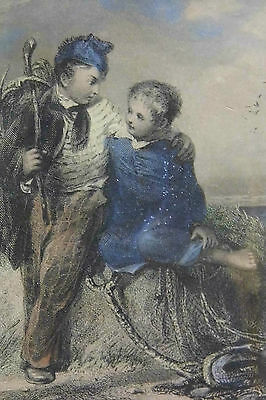The FISHER BOYS 19th century engraving print