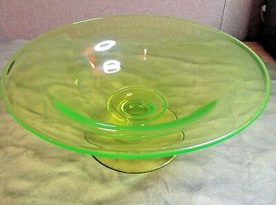 "DEPRESSION ERA Uranium CANARY Glass Compote Vaseline~comport 9.5""~footed bowl~"