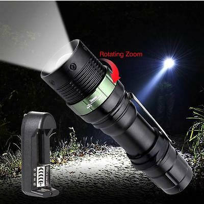 6000 LM Zoomable CREE XML T6 LED Flashlight 3 Modes Light +AC Charger US Plug FT