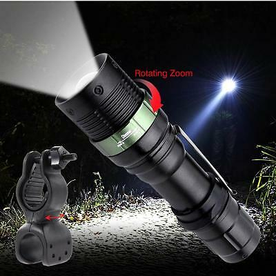 3 Modes 6000 LM Zoomable CREE XM-L T6 LED Flashlight +Rotation Torch Bracket FT