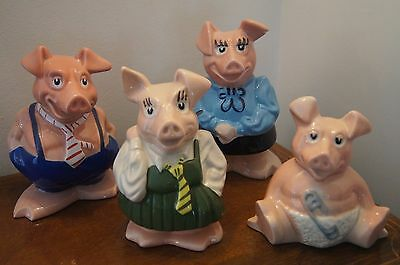 Natwest Pigs Family  4 Pigs Perfect Complete With Natwest Stoppers