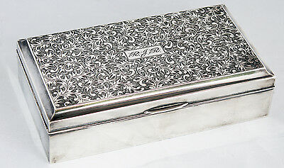 Vintage Japanese 950 Sterling Silver Trinket Jewelry Cigarette Box Ornate Japan