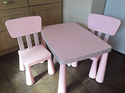 Pink Bling Child's Table And 2x Chairs
