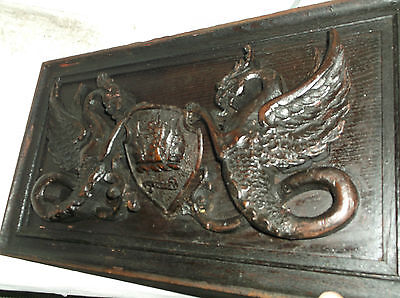 Rare Antique Armorial Crest Griffins Treen Large High Relief Carved Wood Plaque