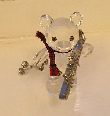 Swarovski Crystal-Kris Bear with Skis- Mint-Boxed-Certificate-Now Retired