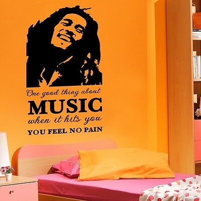 Huge Bob Marley Music No Pain Wall Decals Quote Sticker Room Decor Removable HP