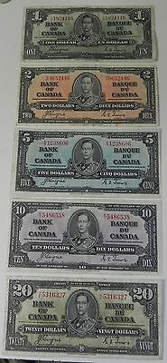 Better Grade Set of 1937 Coyne/Towers $1-$20 Bank of Canada Notes