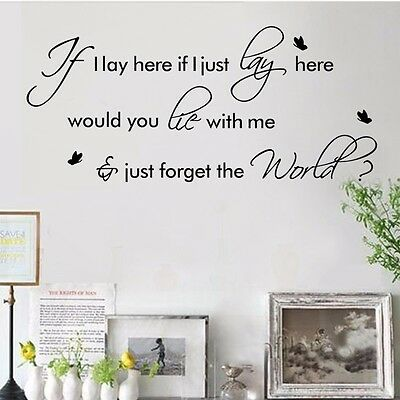 If I Lay Here Snow Patrol Wall Decal Quote Sticker Room Decor Removable Vinyl HP