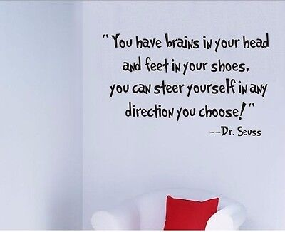 You Have Brains Dr.Seuss Quote Vinyl Art Wall Decals Words Sticker Home Decor HP
