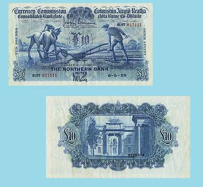 Ireland Currency 10 Pounds 6.5.1929. Ploughman Note  UNC - Reproductions