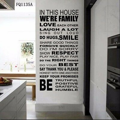 DIY Family House Rule Wall Decals Quote Sticker Room Decor Removable Vinyl HP