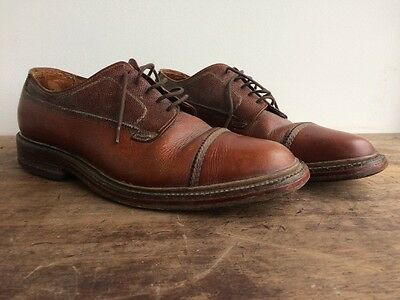 Superb Vtg 30s 40s Tan Brown Leather Oxford Shoes Brogues Brogue