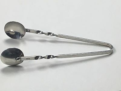 Antique marked sterling silver 4inch sugar tongs with cupped shape ends
