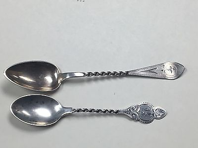 2similar twist turned handled bright cut 1899 Aesthetic Movement sterling spoons