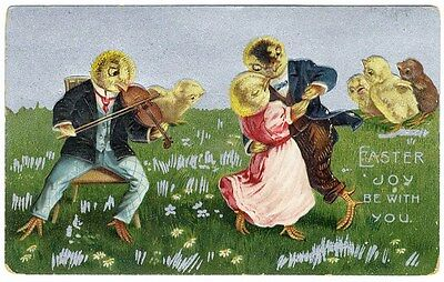 Fantasy EASTER Postcard c 1910 EASTER CHICKS Chickens Dancing & Playing Violin
