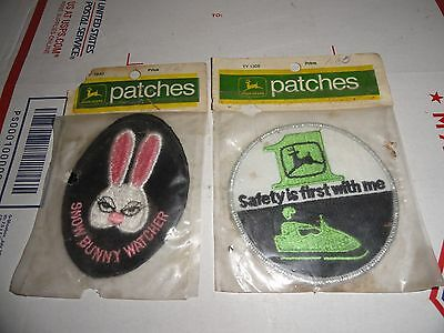 """Vintage 1972 John Deere """"SNOW BUNNY WATCHER"""" & """"Safety is first with me"""" Patches"""