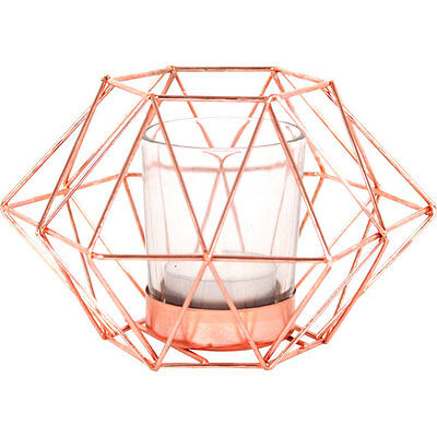 Lovely Copper Metal Geometric Octagonal Tealight Candle Holder with Glass Inner