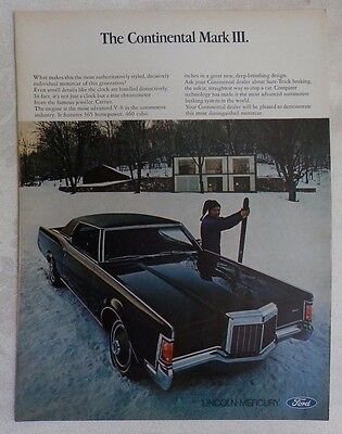 1969 Lincoln Continental Mark III 460 cu Magazine Advertisement