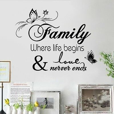 Family Where Life Begins Wall Quote Decals Removable Sticker Decor Vinyl Art HP