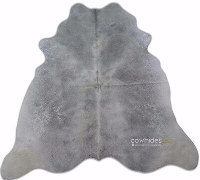 Grey Cowhide Rug Size: 5.7 X 5.4 ft Gray and White Cow Hide Skin Rug i-927