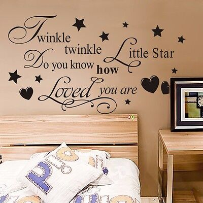 Twinkle Little Star Mural Wall Quote Art Words Decals Sticker Room Decor Vinyl H