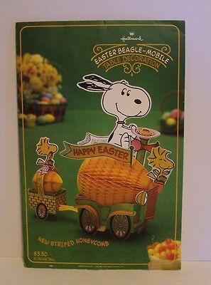 Snoopy Easter Beagle Mobile Table Decoration Hallmark Honeycomb Egg Peanuts VTG