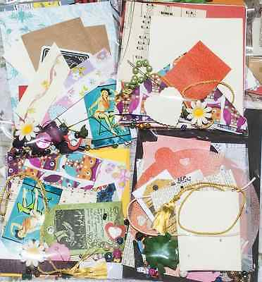 Joblot craft packs beads,card,fabric die cuts,ribbons, flowers, papers x 10 OOAK