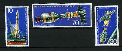 132110 SPACE DDR GERMANY 1975 set 3 stamps SOYZ APOLLO