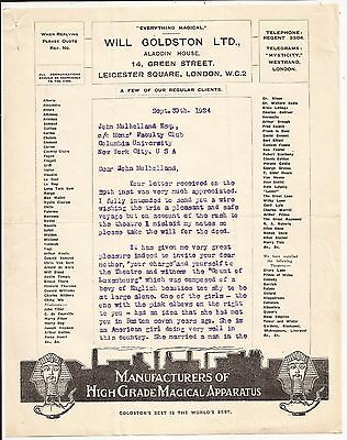 TWO PAGE SIGNED LETTER FROM WILL GOLDSTON TO JOHN MULHOLLAND on Letterhead 1924