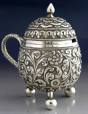 HIGH QUALITY INDIAN SOLID SILVER MUSTARD POT EGG SHAPE ANTIQUE c1890 KUTCH