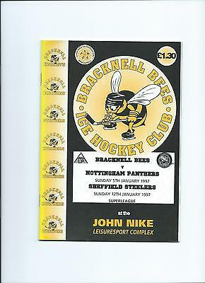 96/97 Bracknell Bees  v Sheffield Steelers/Nottingham Panthers Mint condition