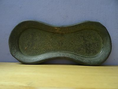 Beautiful Antique  Persian Qajar Islamic Engraved metal brass colour Tray 19 c