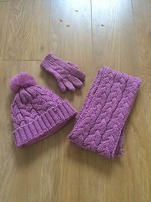 Girls Pink Hat, Scarf and Gloves Set - Aged 10-11